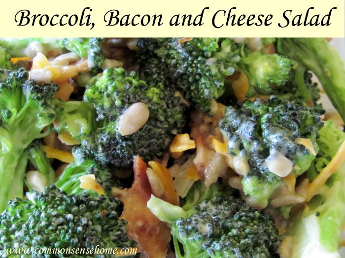 Broccoli, bacon and cheese salad recipe with sunflower seeds.  Quick and easy summertime recipe.  Homemade tastes so much better than the deli.