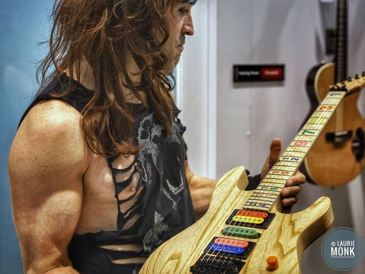 All things are possible...Satchel aka Russ Parrish a super guitar player admires the Jason Becker Carvin guitar NAMM 2016. Just two more weeks and roll on NAMM 2017