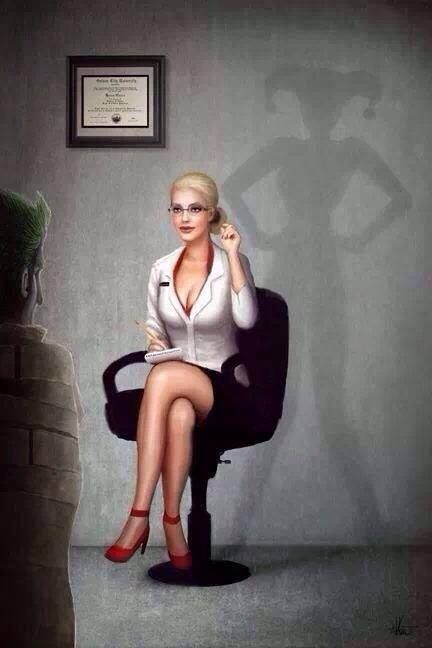 Dr. Harleen Quinzel being haunted by who she's about to become thanks to the Joker. This is fantastic! I need a print of this Harley Quinn!
