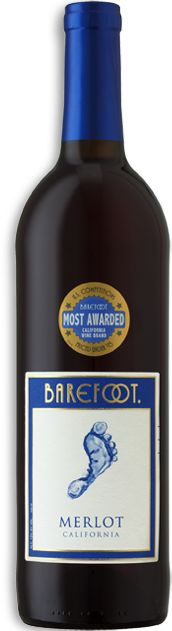 BAREFOOT Merlot -The perfect combo of cherry, boysenberry, plum and chocolate flavors. Raised right, it's well rounded with mild tannins.