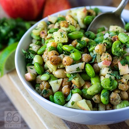 This killer combination of toasted chickpeas, chewy edamame, crunchy apples and cashews paired with creamy avocado-lime dressing makes one fabulous salad. Healthy, vegan, gluten-free.