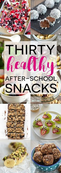 A list of 30 Healthy After-School Snacks to help you and your kids power through the afternoon. All are simple, easy to make recipes and are kid-friendly. From @whattheforkblog | whattheforkfoodblog.com