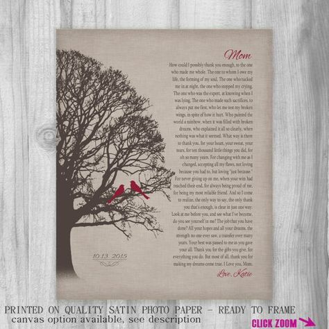 ... Poem for Mother Wall Art Print Custom Wedding Day Gift Birthday Gift