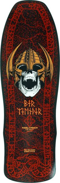 """Powell Peralta Per Welinder Nordic Skull Skateboard Deck.The legendary graphic is back in stock again in red. Get yours while we still have a few left! 9.62""""x 29.7"""". """"Skate to destroy it or collect it"""
