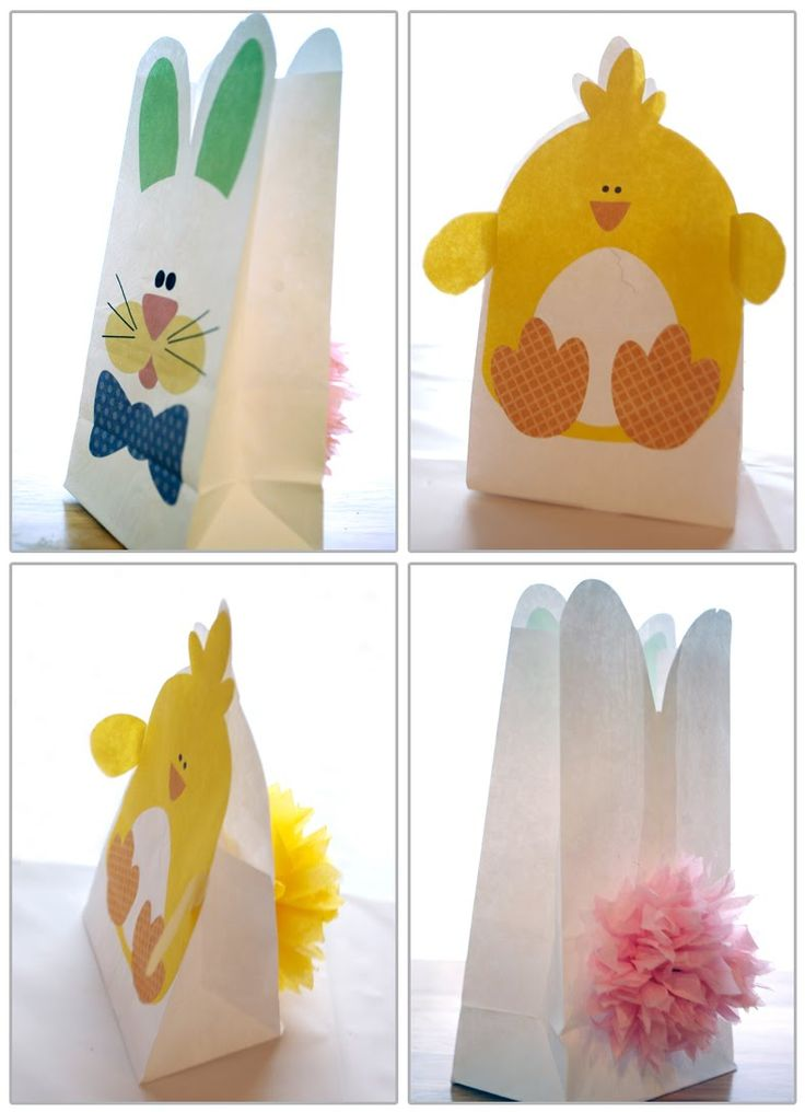 Cute, cute, cute! (...and with Easter just around the corner!) FREE Bunny and Chick Easter Bags printable - http://greenlilydesigns.blogspot.de/2010/03/free-bunny-and-chick-easter-bags.html