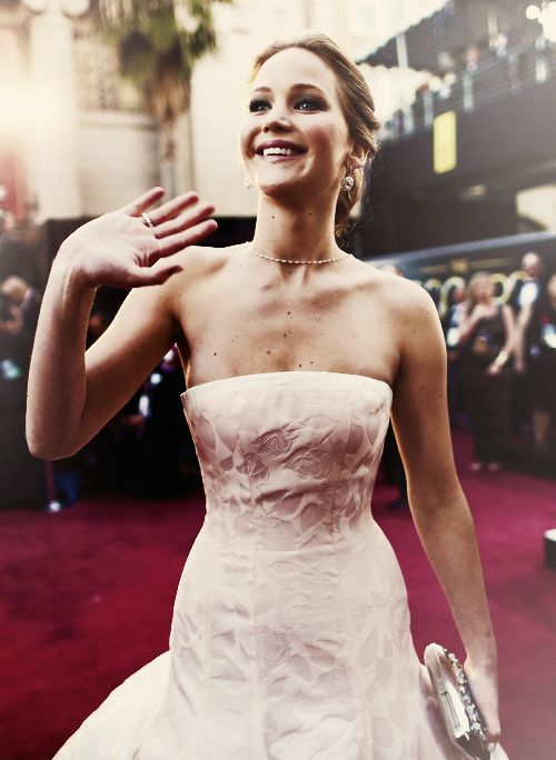 Jennifer Lawrence on the night she won her first Oscar. This photo was taken prior to the ceremony.