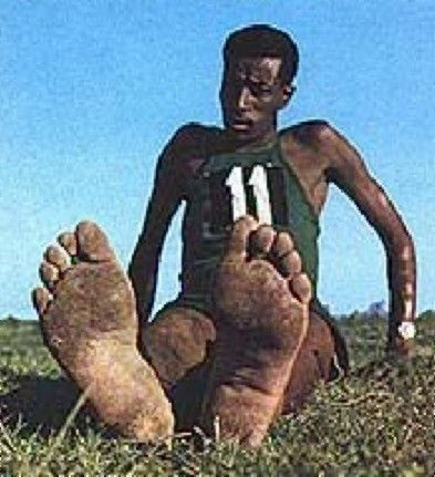 Abebe Bikila Ethiopian marathon runner who was the first sub Saharan African to win an Olympic gold medal, in 1960 in Rome, the capital of Ethiopia's former military occupiers. He mostly ran barefoot.