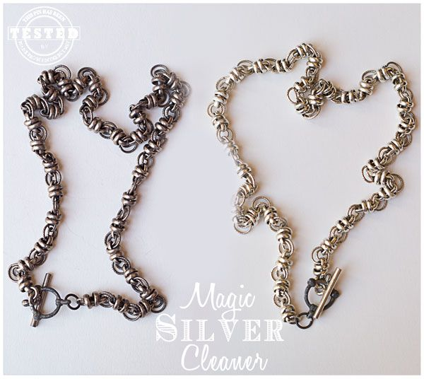 Magic Silver Cleaner - Quick and easy way to clean any of your silver jewelry, or silver dishes. It uses ingredients you probably already have and only takes around 15 minutes! #Silver Cleaner #Cleaner #Jewelry