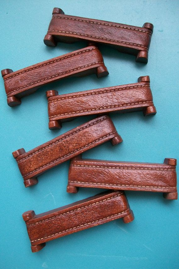 1 MANLY 3c Faux Leather Drawer Pulls w/ Stitching by qsmuse, $4.00 for faux steamer trunk dresser