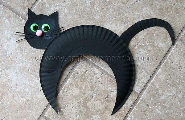 Paper Plate Black Cat - Crafts by Amanda