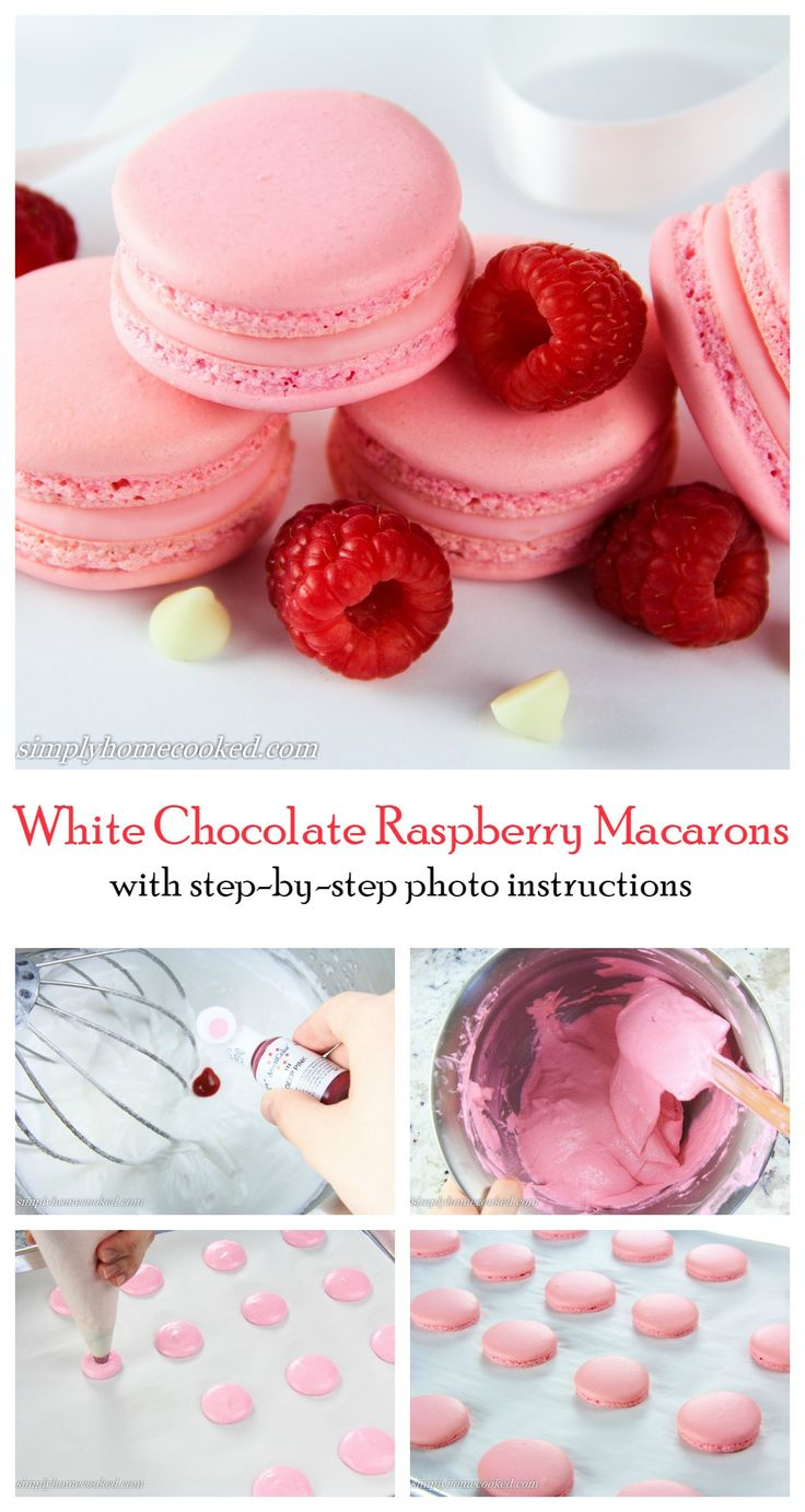 Sweet pink macarons filled with a white chocolate raspberry ganache.