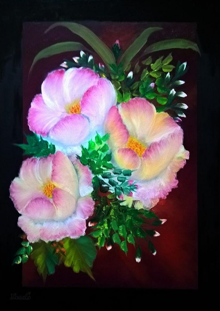 Mű címe: Virágok. Olaj festmény.  Médium: Canvas 70x50  Művész: Árgyelán László