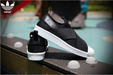 Adidas Superstar Originals Slip On S81337 Herren & Damen's Sportlich Schuhe Schwarz/Weiß