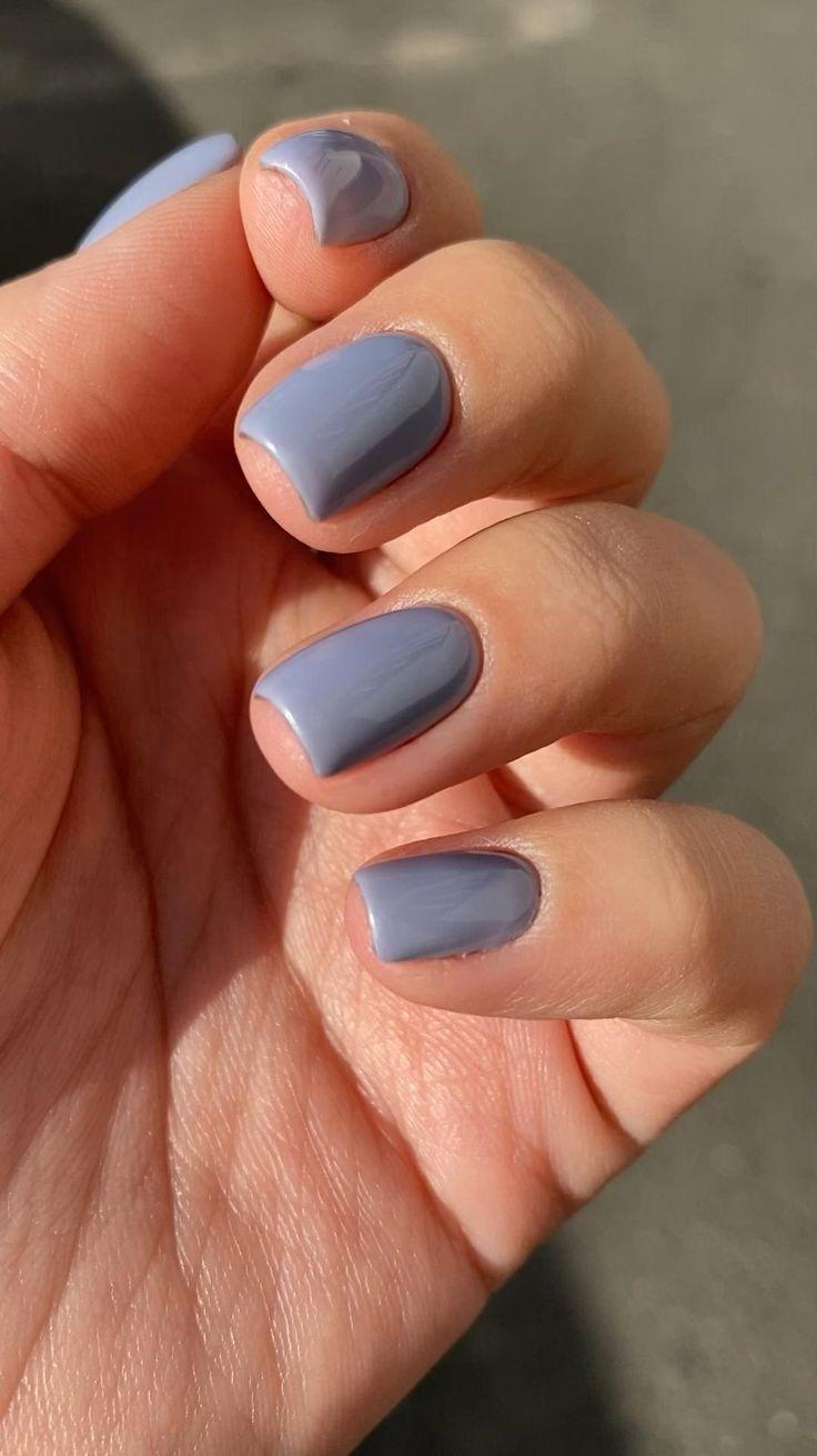 New nails blue grey [Video] | Simple gel nails, Blue nails, Short gel nails