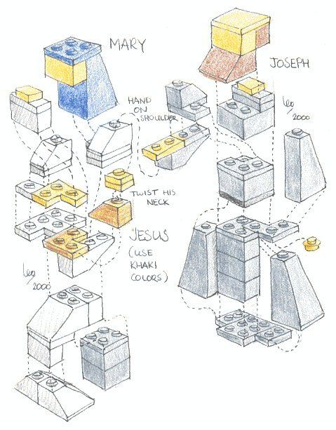 """Make Your Own LEGO Nativity Scene: print out instructions and do an """"advent calendar""""...each day they get a single print out, find the legos and build.  Have them build a stable to create the scene as they go"""