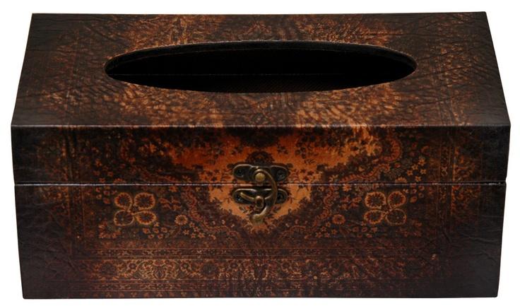 Oriental Furniture Olde-Worlde European Tissue Box in Faux Leather