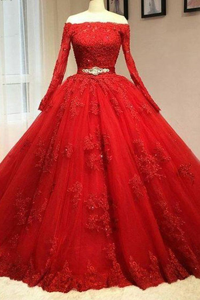 Vintage PROM DRES,LACE APPLIQUED Red organza PROM DRESS, off THE SHOULDER PROM DRESS, 2017 BALL GOWNS WEDDING DRESS