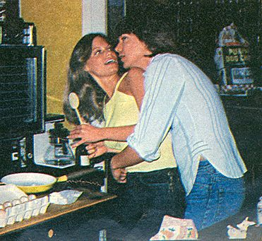David and first wife Kay Lenz playing around in the kitchen.