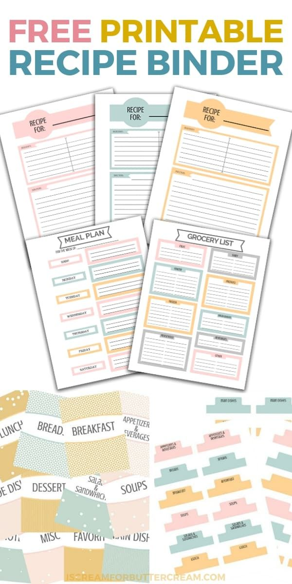 Printable Recipe Binder With Images Recipe Binder Printables
