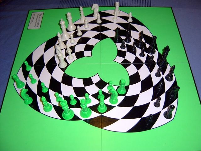 This is a picture of an unusual chess-based game called Trichotomy that my friend John owns. As the picture and the name suggest, Trichotomy is played with three players, each trying to checkmate the player to their left. John bought the game years ago from the designer himself, and I have never seen anything like it since.