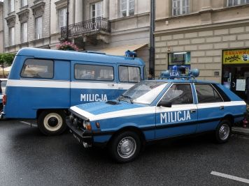 Police cars during communism.