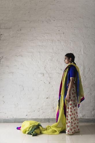 ambi pallu saree worn with chameli petticoat