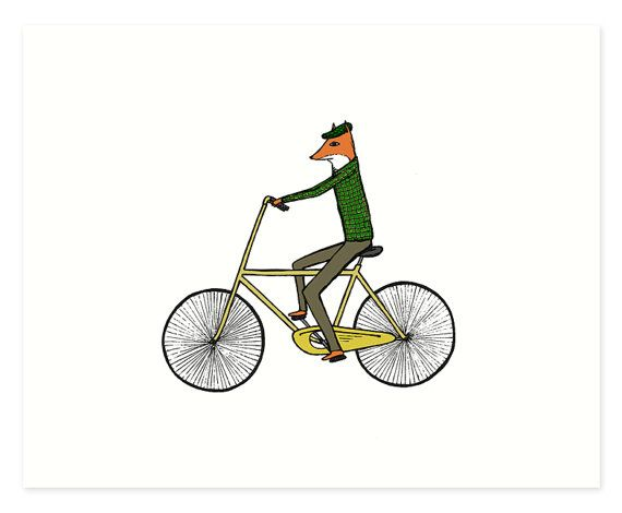 Mr. Fox on a Bicycle Fox Print Bicycle Print by hellosmallworld