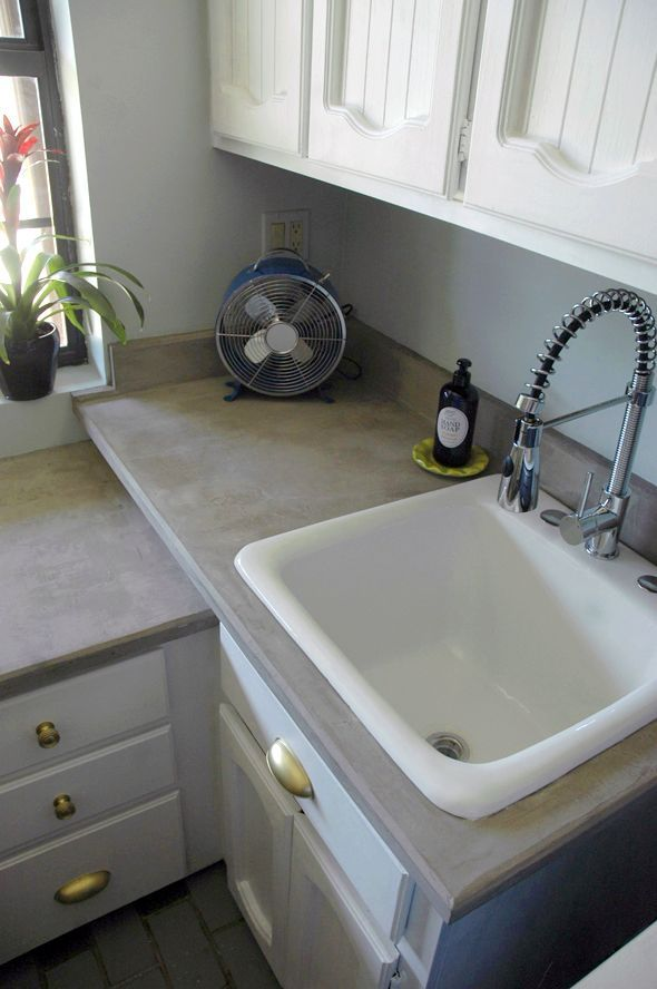 Lighting Basement Washroom Stairs: DIY Concrete Countertops Over Laminate (or Anything). Nice