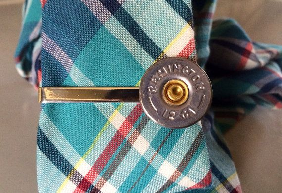 Camo Wedding Groomsmen gifts to go with bullet tux cufflinks  Bullet tie clip 12 gauge shotgun groomsmen by DieselLaceDesign, $19.49