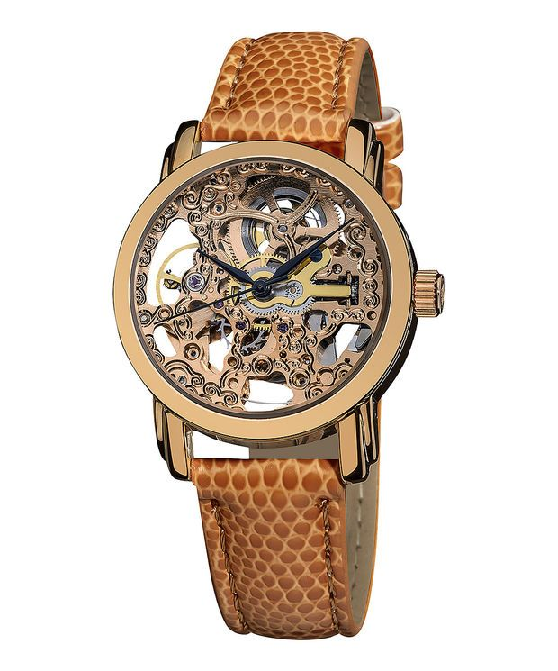 Akribos XXIV Rose Gold & Brown Mechanical Leather-Strap Watch | zulily