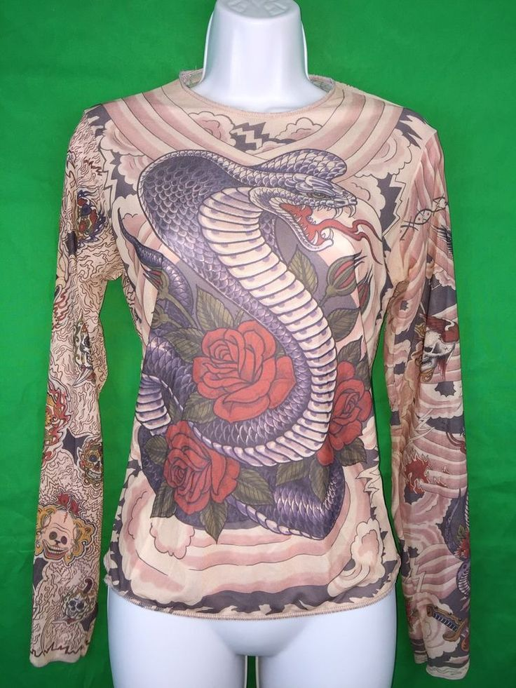 Women's Tattoo Cobra Satan Roses Skulls Long Sleeve Blouse Top   | eBay