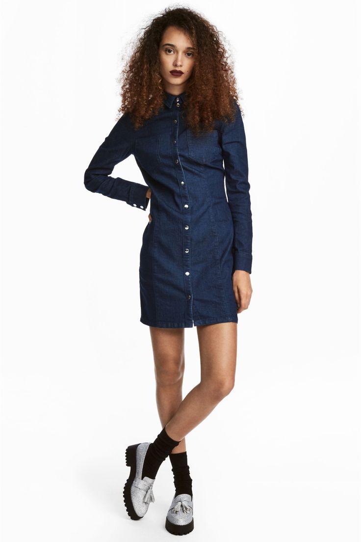Облегающее платье-рубашка - Темно-синий деним - Женщины | H&M RU 1