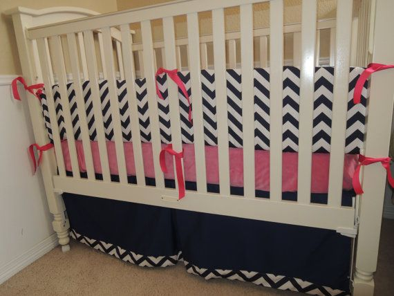 Navy Blue Chevron And Pink Custom Baby Bedding Set By