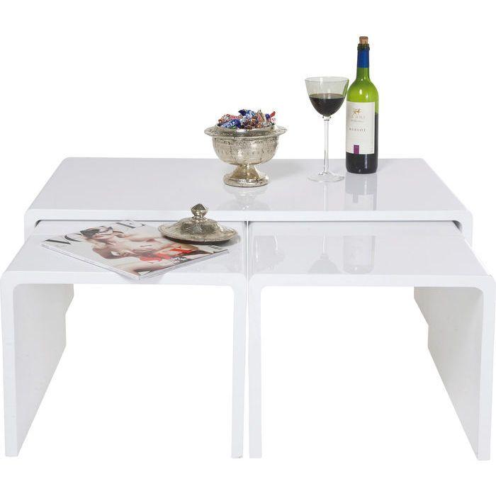 """Кофейные столики """"Глянец"""" (Shiny), белые, 3 шт. в комплекте - KARE Design"""