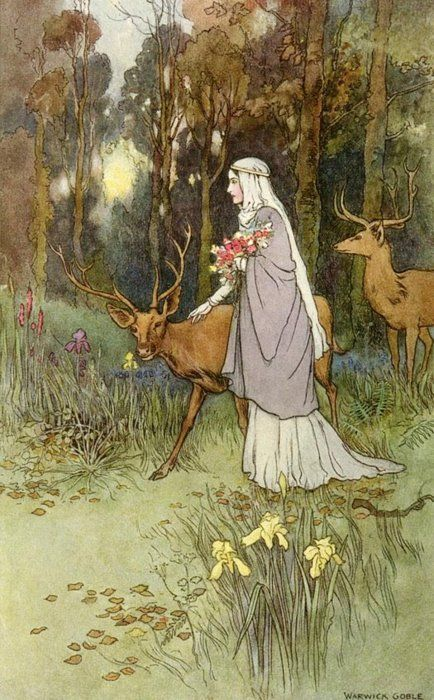 'Woman Walking Through the Woods with a Timid Dun Deer' - by artist Warwick Goble