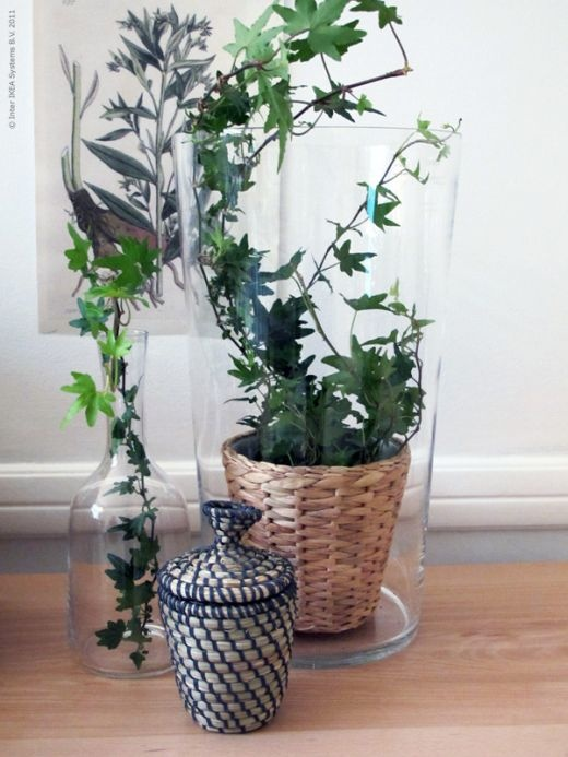 I like this idea from IKEA swedish blog. Glass vase with a plant inside. Vase is BLADET and planter FRIDFULL