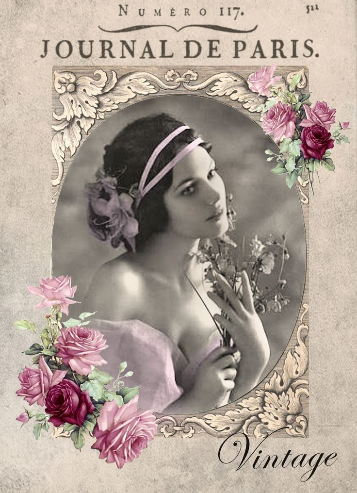 Collage Vintage: Vintage Woman Digital Collage P1022 Printable Decoupage