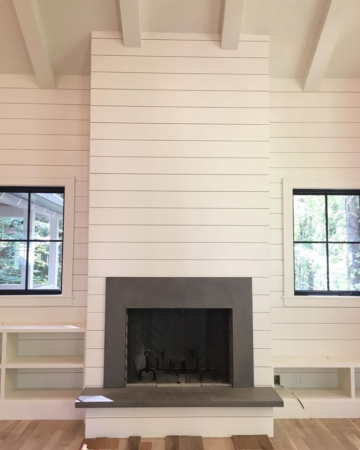 Pin by Anna Guanzon on FIREPLACE in 2019  Farmhouse fireplace Porch fireplace Shiplap fireplace