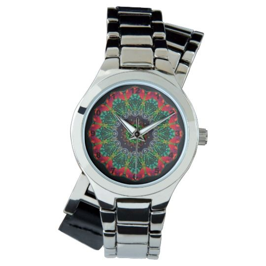 Mandala Silver Wrap-Around Wrist Watch by www.zazzle.com/htgraphicdesigner* #zazzle #watch #wrist #wristwatch #colorful #mandala  #woman #girl #kaleidoscope #colourful  #gift #giftidea