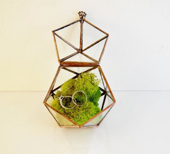 Glass Terrarium, Ring Bearer Wedding Ring Box, Clear Glass Planter Geometric, Icosahedron With a Hinged Lid.