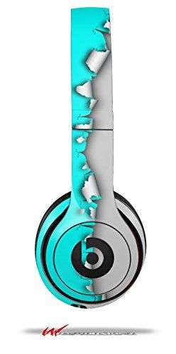 Ripped Colors Neon Teal Gray - Decal Style Skin fits genuine Beats Solo 2 Headphones (HEADPHONES SOLD SEPARATELY)