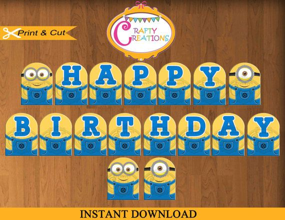 Despicable Me Banner - Printable Minions Birthday Party Banner #BirthdayBanner #Minions #Decorations