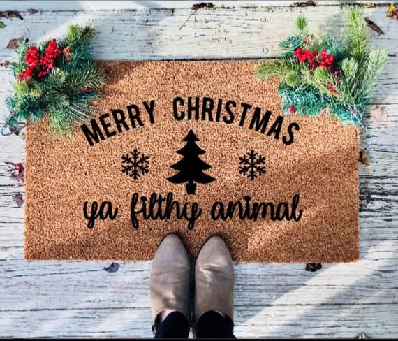 Merry Christmas Ya Filty Animal Funny Christmas Welcome Mat