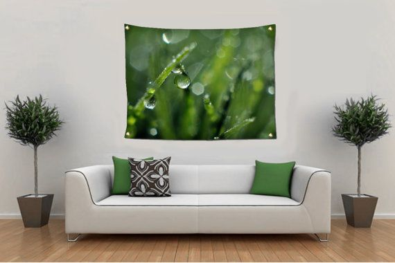 Fine Art Nature Photography for you and your fashionable home.  ~TAPESTRY WALL HANGING~OUTDOOR TAPESTRY~GARDEN FLAG~BEACH BLANKET~ Green Grass Tapestry, Dew Drops Tapestry, Water Drop Tapestry, Macro Photo Tapestry, Tapestry Wall Hangin... #christmasgift #inlightimagery #shopsmall #shopart #naturephotography #fineartgift #etsy