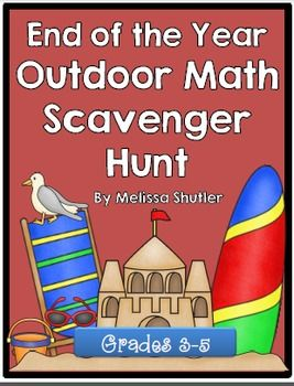 Are you looking for a fun end of the year math activity?  Download this awesome freebie!  This scavenger hunt is a great way to combine outdoor play, math, and end of the year fun.  Included is a mini-book of math clues for students.  Each clue reviews a math concept for grades 3-5.  Have a wonderful end of the school year!
