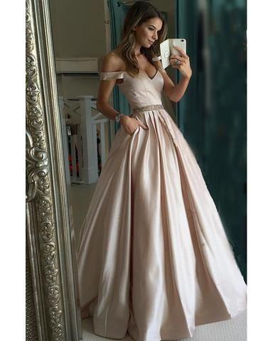 d3dfd45fed Pretty Nude Satin V-neck Prom Dresses Off Shoulder Evening Gowns Beade –  alinanova