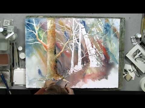 Watercolor Technique For Woodgrain Textures Using A Knife