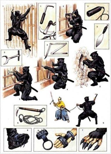 Diferentes utensilios que usaban los Ninjas para poder escalar, hacer agujeros en las paredes, como armas, etc.