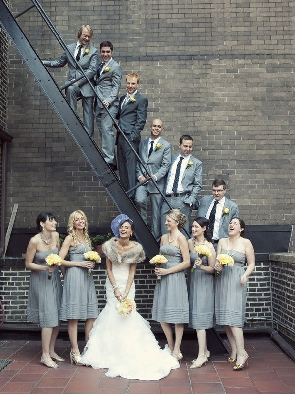 love the greys, and groom in darker suit
