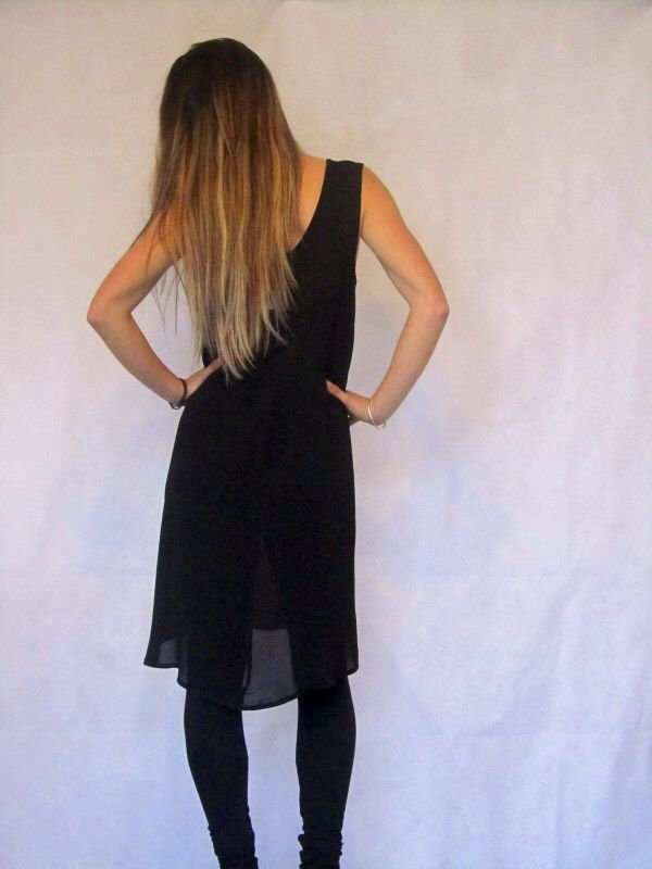 Julie Dress - Black/Tan  Stunning dress, pattern at the front black at the back, hem lower at the back.  Made in New Zealand